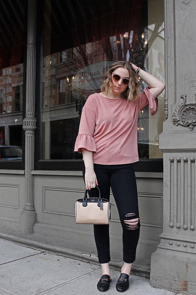 blush bell sleeve blouse