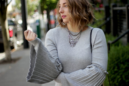 comfortable office wear accordion sleeve sweater