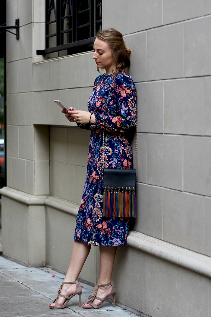 paisley floral prints midi dress